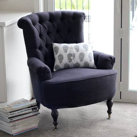 cambridge fabric armchair black coal