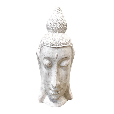 Long Face Buddha Head 45cm Whitewash