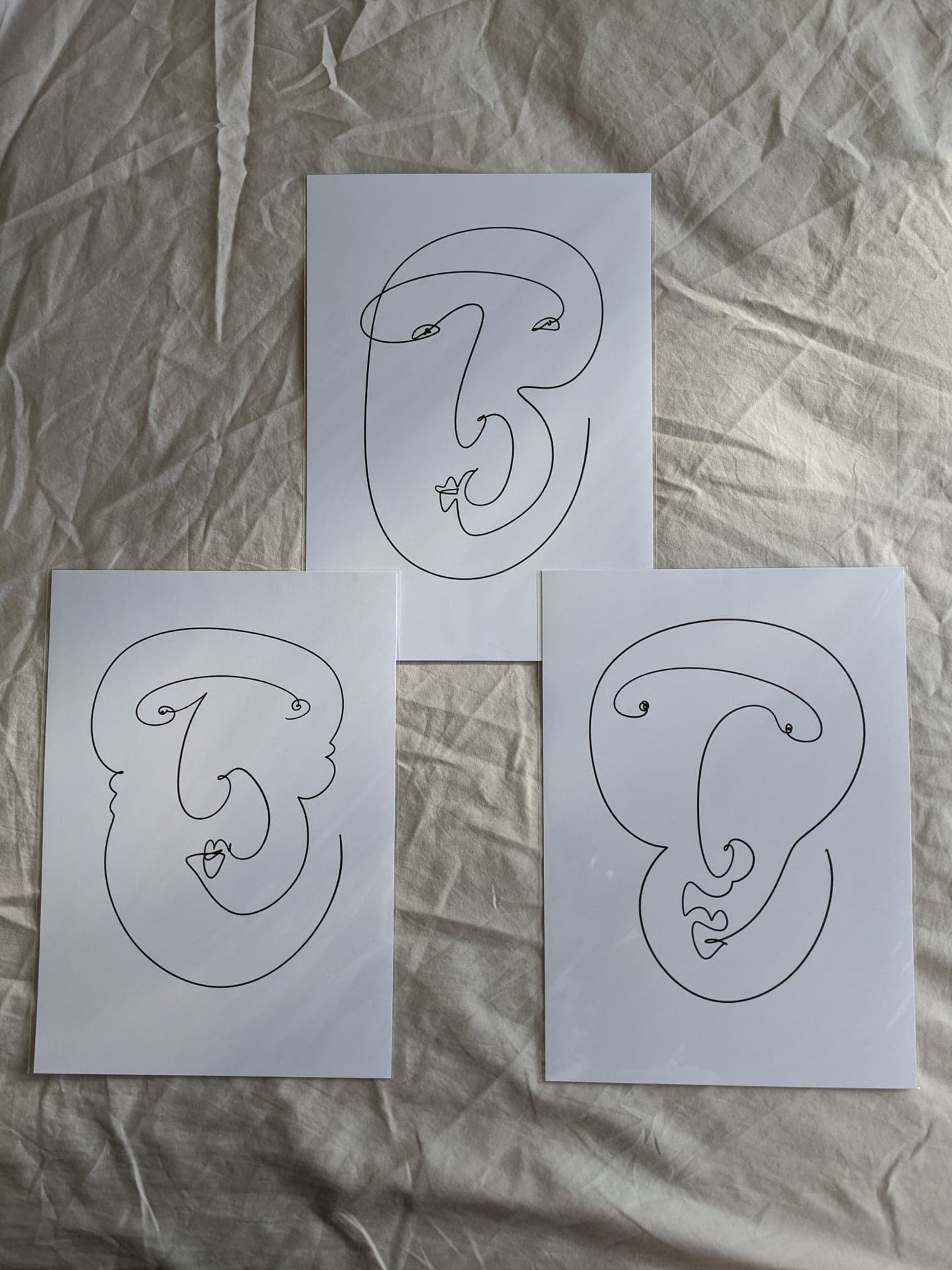 Set of 3 Line Drawing A4 Prints