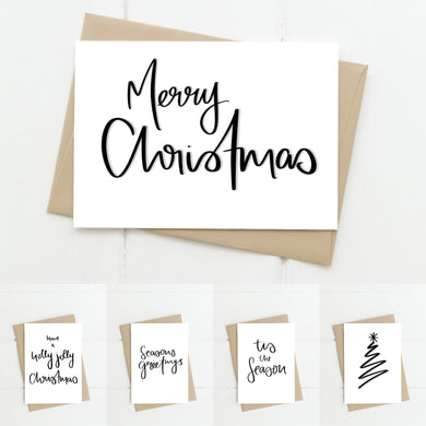 Monochrome Christmas Greeting Card 5 Pack