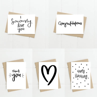 Monochrome Occasions Greeting Card 5 Pack