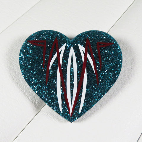 Aqua Pinstriped Heart Brooch