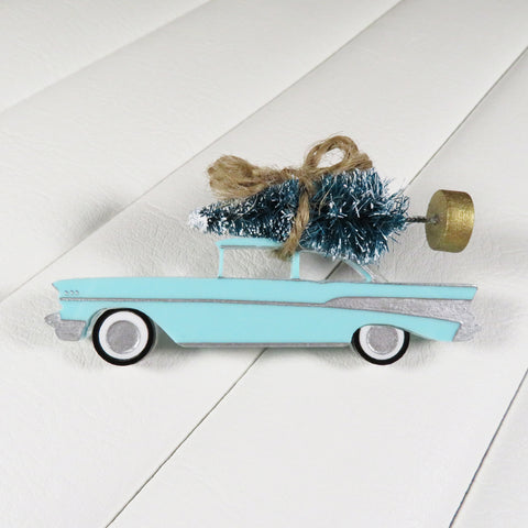 1957 Vintage Chevrolet Chevy Car Christmas Tree Brooch Pin by Bel Air Baby Rockabilly retro hotrod 1950s pin up novelty