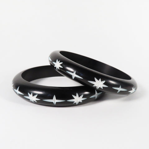 Black Carved Starburst Bangle | Bel Air Baby