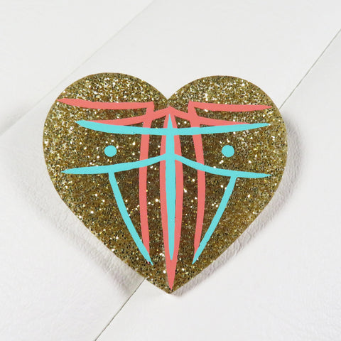Gold Pinstriped Heart Brooch