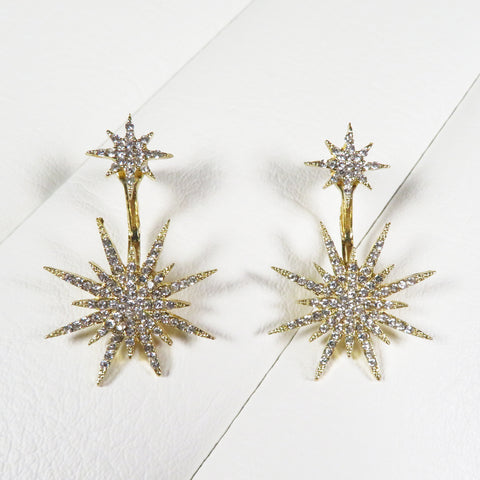 Vintage Gold Atomic Starburst Crystal Earrings