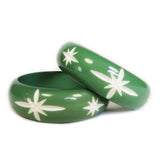 Wide Green Carved Starburst Bangle