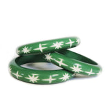 Narrow Mint Green Carved Starburst Bangle