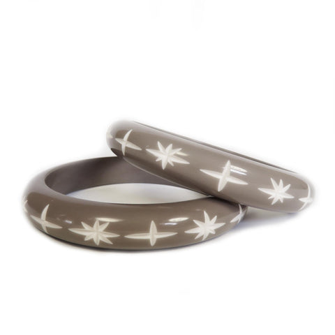 Narrow Pastel Grey Carved Starburst Bangle