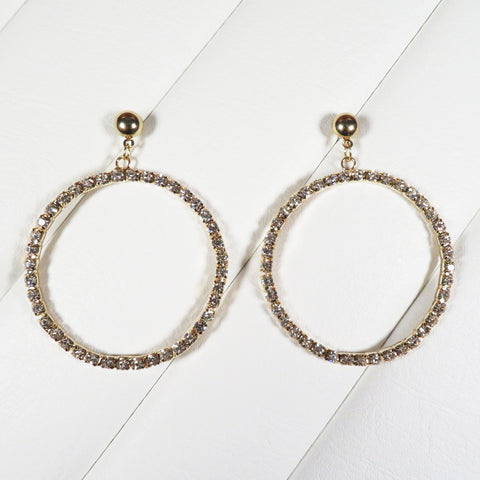 Hollywood Hoop Rhinestone Earrings