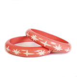 Narrow Peach Pink Carved Starburst Bangle