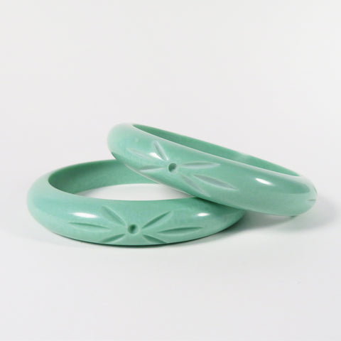 Mint Pearl Carved Bangle | Bel Air Baby