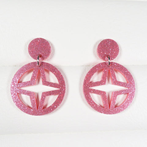 Pink Glitter Breeze Block Dangle Earrings