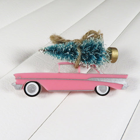 Pink 1957 Chevrolet Christmas Tree Brooch