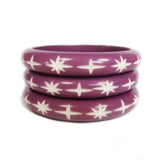 Narrow Purple Carved Starburst Bangle