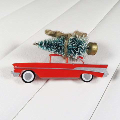 Red 1957 Chevrolet Christmas Tree Brooch