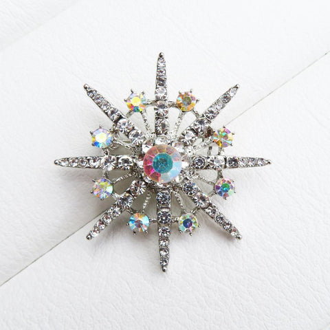 Silver Atomic Starburst Crystal brooch