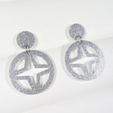 Silver Glitter Breeze Block Dangle Earrings