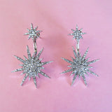 Vintage Silver Atomic Starburst Crystal Earrings