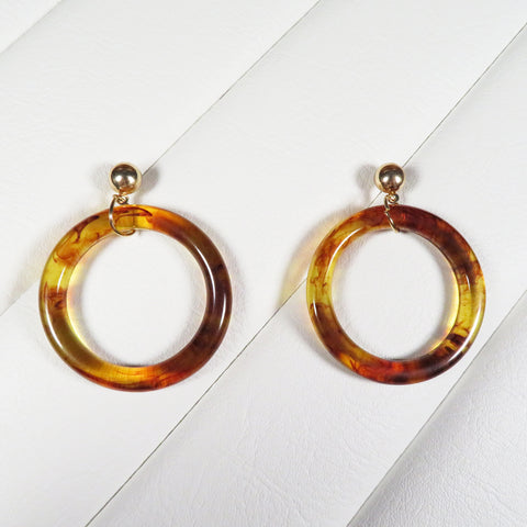 Toffee Brown Marble Acrylic Hoop Earrings