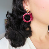 Red Marble Acrylic & Velvet Hoop Earrings