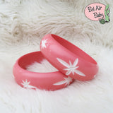 Wide Peach Pink Carved Starburst Bangle