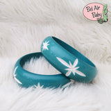 Wide Turquoise Carved Starburst Bangle