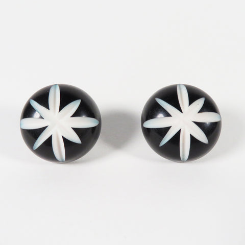 Black Carved Starburst Stud Earrings | Bel Air Baby