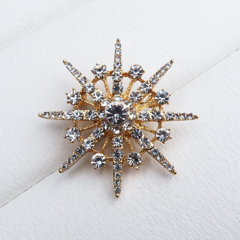 Gold Atomic Starburst Crystal brooch