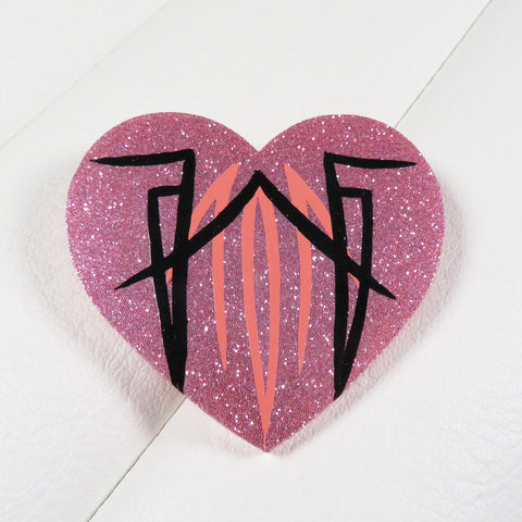 Pink Pinstriped Heart Brooch