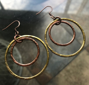 Eclipse Hammered Copper + Brass Earrings