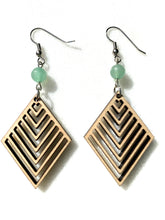 Load image into Gallery viewer, Wooden Chevron Earrings