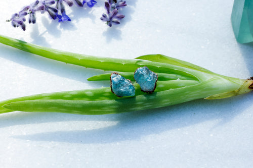 ABRACADABRA Raw Blue Apatite Stud Earrings