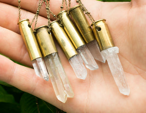 Quartz Crystal Bullet Necklace