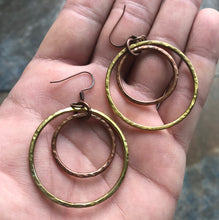 Load image into Gallery viewer, Eclipse Hammered Copper + Brass Earrings