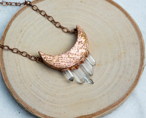 ABRACADABRA Quartz Crescent Moon Necklace