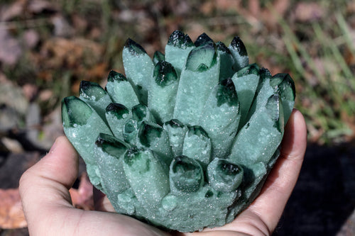 Green Phantom Quartz Cluster