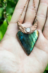 Labradorite + Moonstone Crescent Moon Necklace
