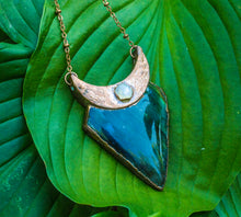 Load image into Gallery viewer, Labradorite + Moonstone Crescent Moon Necklace