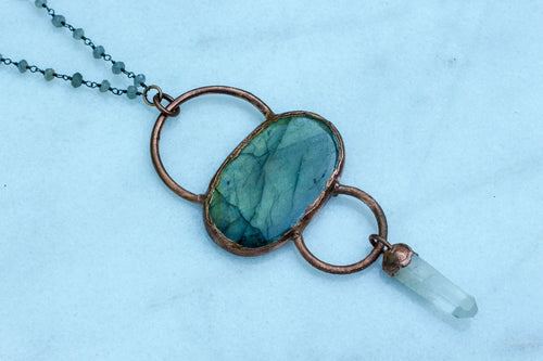 Labradorite + Quartz Necklace