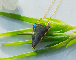 Labradorite Triangle Necklace