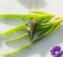 Load image into Gallery viewer, Labradorite Triangle Necklace