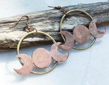 Load image into Gallery viewer, Moon Goddess Brass + Copper Earrings