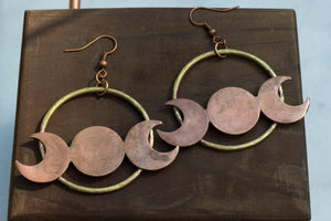 Moon Goddess Brass + Copper Earrings