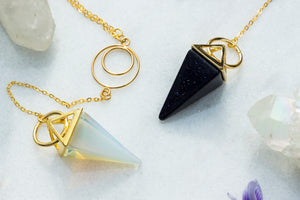 Crystal Pyramid Y Necklace