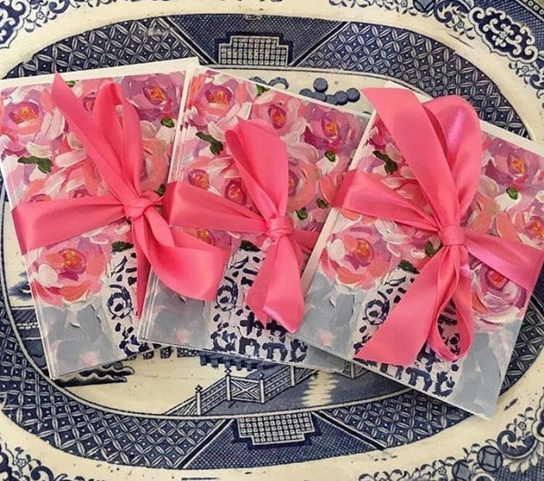 Set of 5 Original Peony in a Double Happiness Jar Notecards