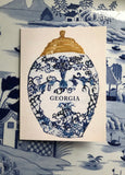 "Set of 5 Original ""Georgia"" Tobacco Jar Notecards & White Envelopes"