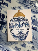 "Set of 5 Original ""Virginia"" Tobacco Jar Notecards & White Envelopes"