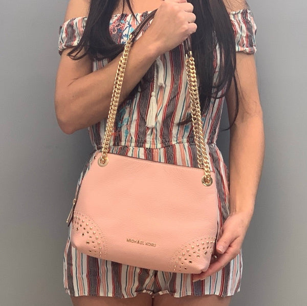 Michael Kors Jet Set Small Shoulder Bag Chain Tote Pastel Pink Studded