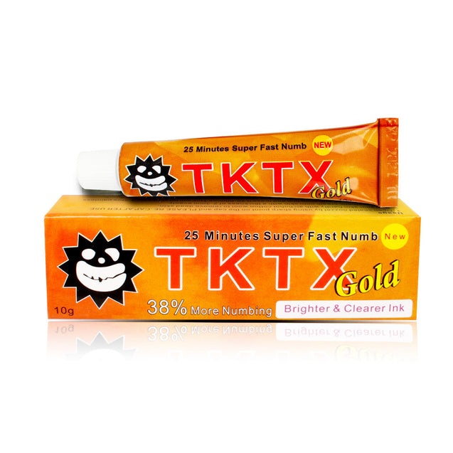 VIP 38% TKTX Gold Topical Anesthetic for Tattoos Fast Numb Cream Semi Permanent Skin Body